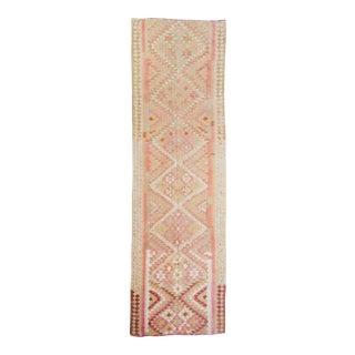 1950s Anatolian Medallion Wool Kilim Handwoven Runner For Sale