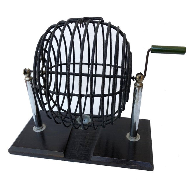 Metal Vintage Wire Cage Spinner For Sale - Image 7 of 7