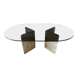 Mid Century Marble Coffee Table With Smoked Glass