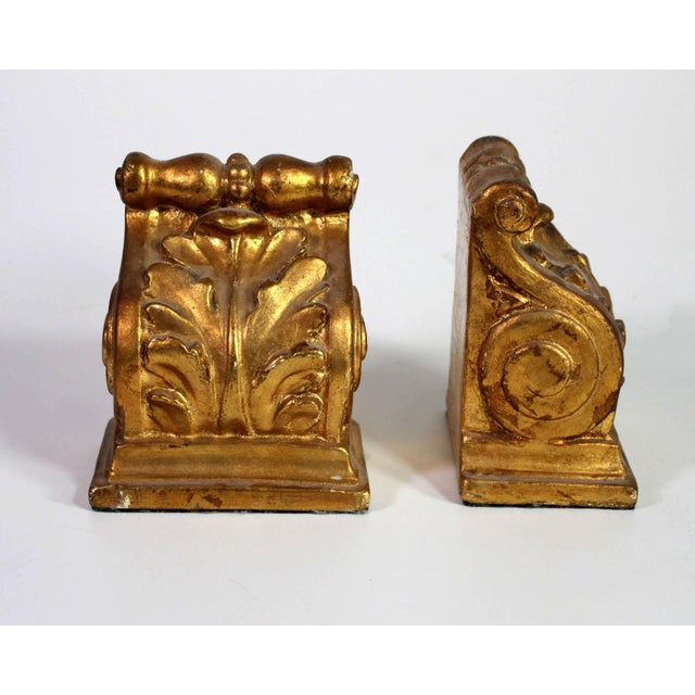 Gold 1940's Hollywood Regency Neoclassical Romanesque Scroll Gilt Bookends - a Pair For Sale - Image 8 of 8