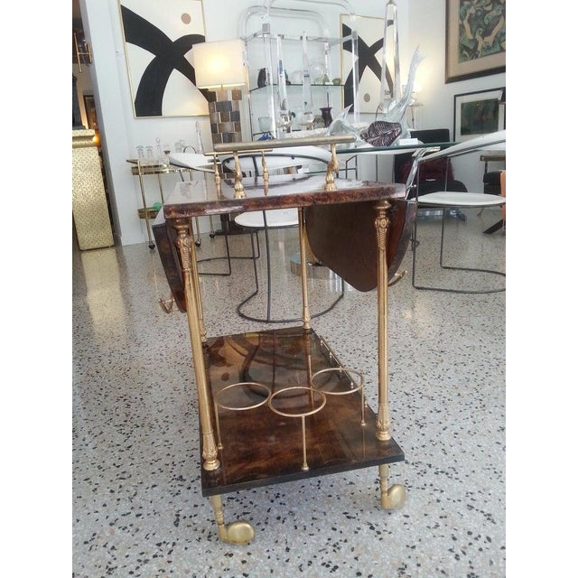 Mid-Century Modern Bar Cart in Lacquered Goatskin and Gold Plate by Aldo Tura For Sale In West Palm - Image 6 of 13