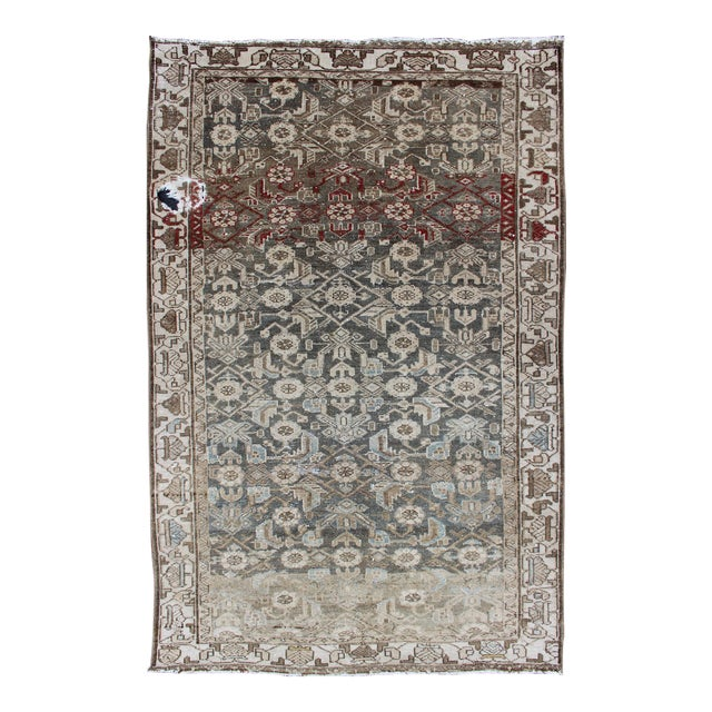 Earthy Tone Vintage Persian Hamadan Rug With All-Over Pattern For Sale