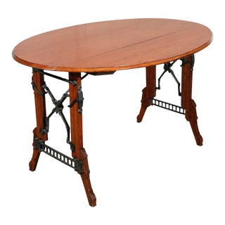 19th Century Eastlake Iron and Oak Campaign Table For Sale