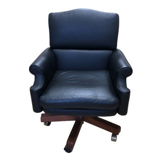 Baker Furniture Black Leather Rolled Arm Executive Office Chair For Sale