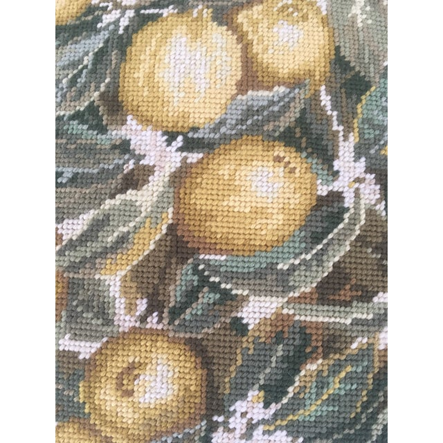 "Beautiful large 20""x20"" lemon needlepoint pillow cover. Exquisite realistic detail will make you want to reach right out..."
