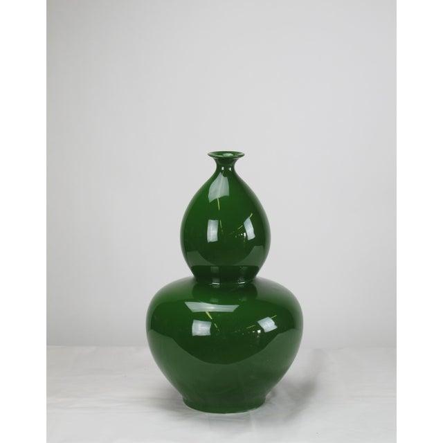Asian Asian Modern Green Bottle Gourd Porcelain Vase For Sale - Image 3 of 5