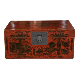 Chinese Red Lacquer Painted Trunk For Sale