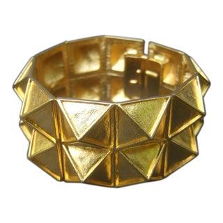 Ken Lane Wide Chunky Gilt Metal Hinged Cuff Bracelet For Sale