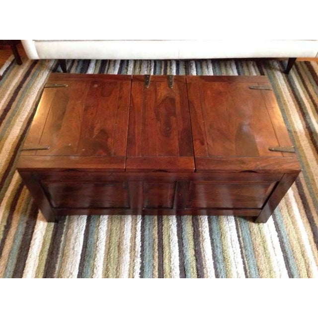Contemporary Carved Walnut Coffee Table Chest - Image 2 of 7