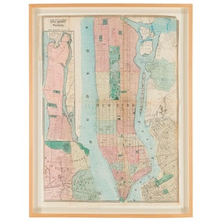 Hand-Colored Antique Map of Manhattan and Parts of Brooklyn, 19th Century For Sale