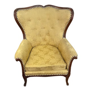 1950s Vintage French Wingback Mahogany Chair For Sale