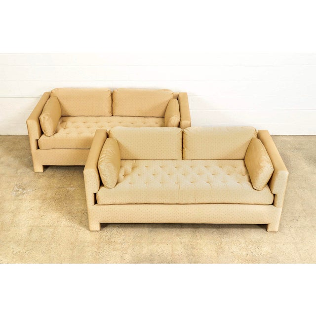 Edward Wormley Mid Century Probber or Wormley Style Tan Upholstered Sofa Couches - a Pair For Sale - Image 4 of 10