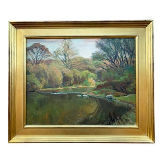 """1930s """"Bend Along the Chagrin"""" George Gustav Adomeit (American 1898-1952) Oil Painting on Canvas Board For Sale"""