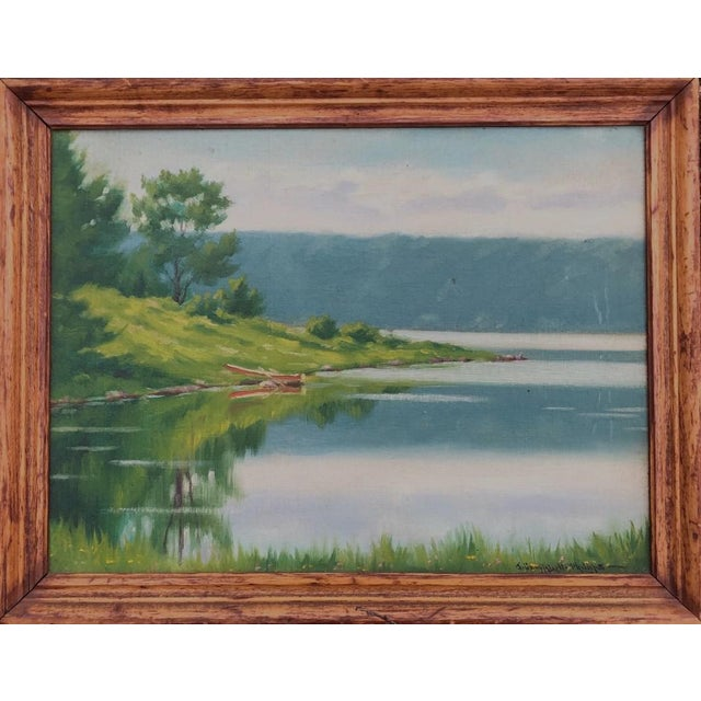 """Early 20th Century """"A Lake in the Berkshires"""" Landscape Oil Painting by J. Campbell Phillips, Framed For Sale"""