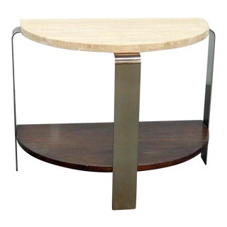 Modern Marble Top Demilune Console For Sale