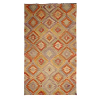 Vintage Mid-Century Mut Geometric Multicolor Wool Kilim Rug- 6′1″ × 10′7″ For Sale
