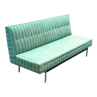 Green Striped Mid-Century Modern Sofa