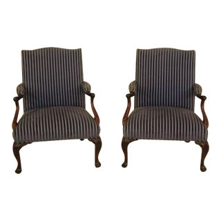 Vintage Georgian Style Mahogany Upholstered Library Chairs - a Pair For Sale