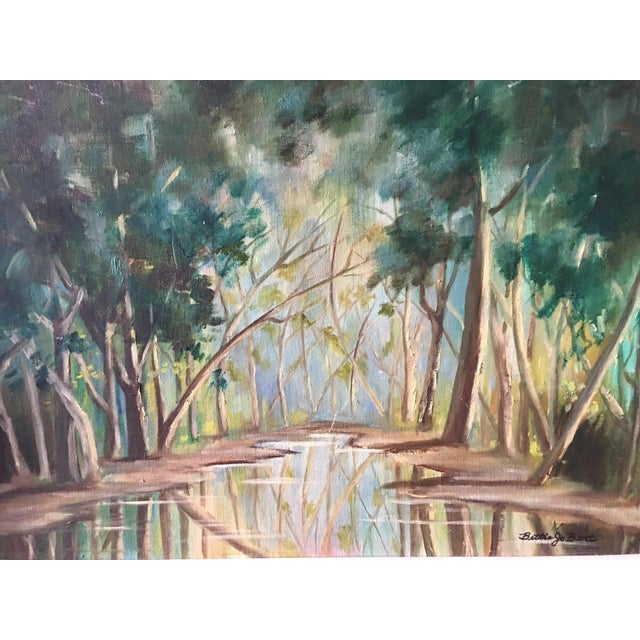 1940s Forest Painting on Board Framed - Image 4 of 6