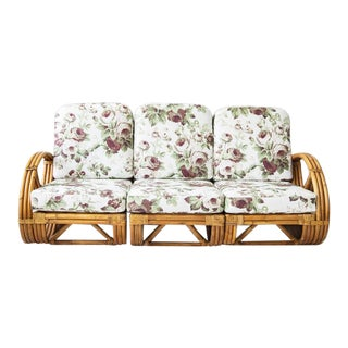 Rattan Sofa With Floral Fabric For Sale