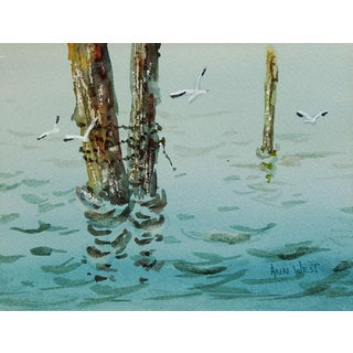 Ocean Marina Watercolor Painting by Anne West For Sale
