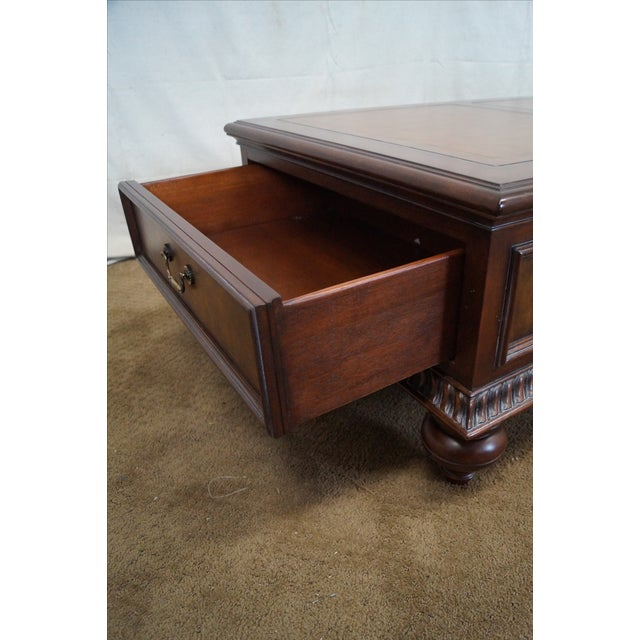 Ethan Allen Leather Top Morley Coffee Table - Image 6 of 10