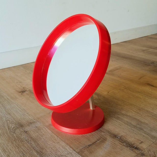 1970s 1970s Red Danish Termotex Tilt Table Mirror For Sale - Image 5 of 9