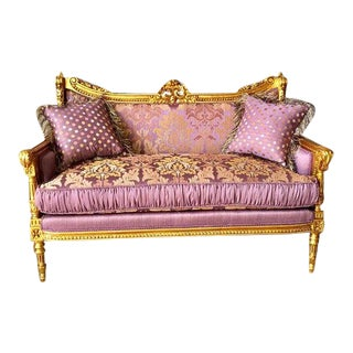 1900s French Style Gold Leaf and Purple Sofa