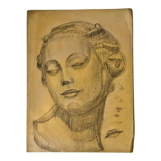 Vintage Modern Female Head Portrait Drawing