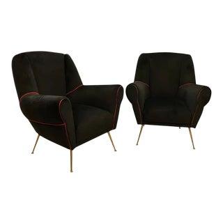 1950s Italian Mid-Century Modern Brass and Black Velvet Italian Armchairs For Sale