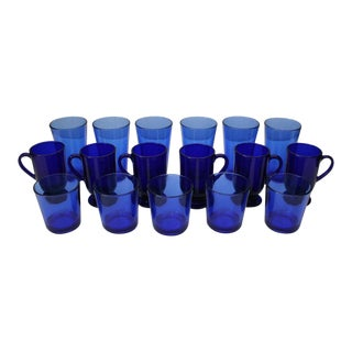 1940s Mid-Century Modern Cobalt Blue Libbey Glasses - Set of 17 For Sale