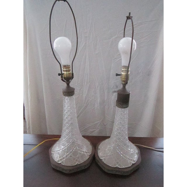 1970s Vintage Crystal Table Lamps With Shade - a Pair For Sale In New York - Image 6 of 9