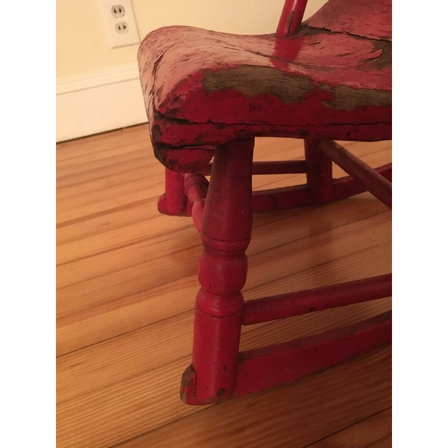 Early 19th Century Child's Rustic Red Wooden Rocking Chair For Sale - Image 9 of 10