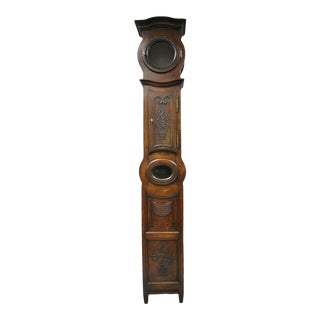 19th C French Provincial Carved Fruitwood Walnut Grandfather Clock Tall Case For Sale