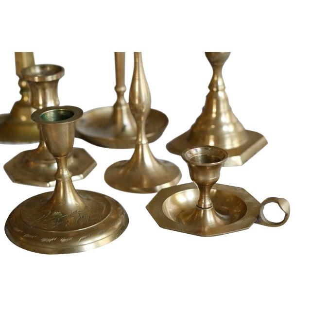 Mid 20th Century Mismatched Vintage Candle Holders, Set of 13 For Sale - Image 5 of 7