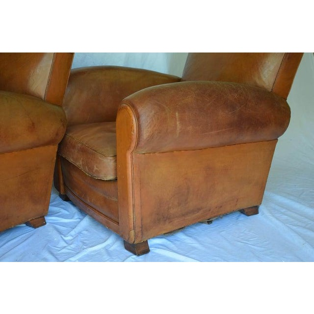 1930s Leather Moustache Leather Club Chairs - a Pair For Sale - Image 10 of 13