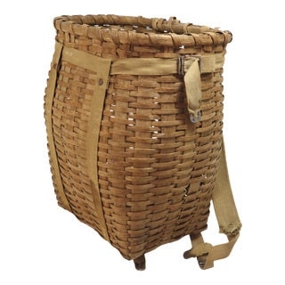 1930s Rustic Childs Size Maine Backpack Basket For Sale