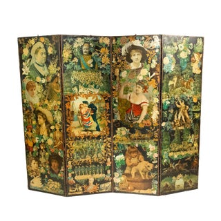 Nineteenth Century Decoupage 4-Panel Screen For Sale
