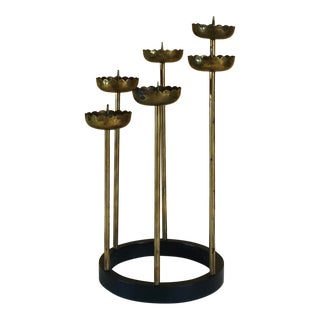1960s Mid-Century Lotus Blossom Brass Candlelabra For Sale