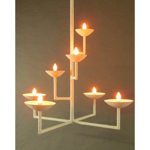 7 Cup Plaster Chandelier For Sale - Image 9 of 12