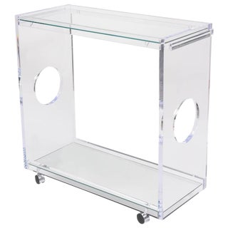 Bespoke Rectangular Bar-Cart/Trolly in Lucite and Mirror For Sale