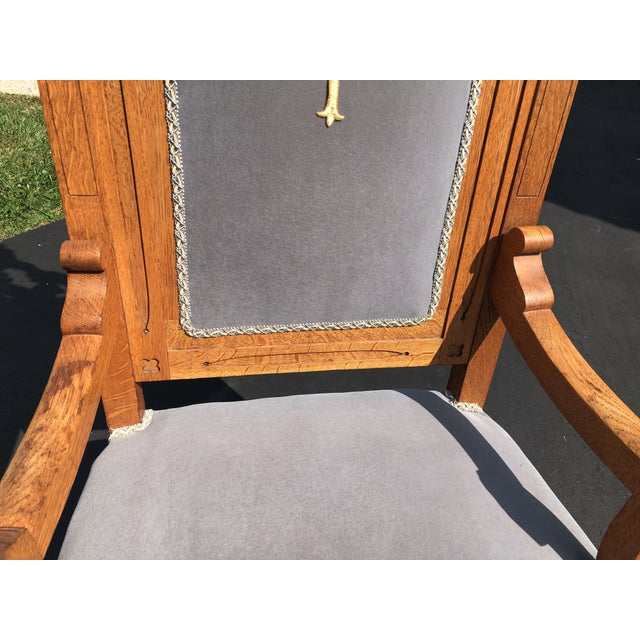 Vintage Gothic Revival Oak High Back Velvet Arm Chair For Sale - Image 10 of 12