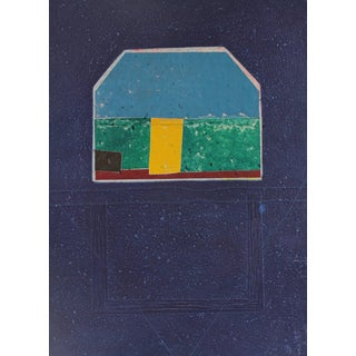 """Gary Lee Shaffer """"House Grid"""" Large Collograph Print on Handmade Paper, 1984 1984 For Sale"""