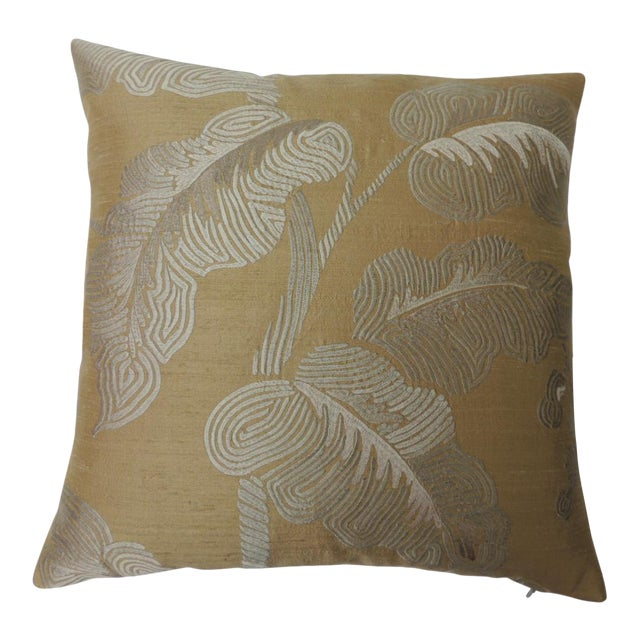 """Pair of Golden Silk Embroidery """"Royal Palm"""" Silk Decorative Pillows For Sale"""