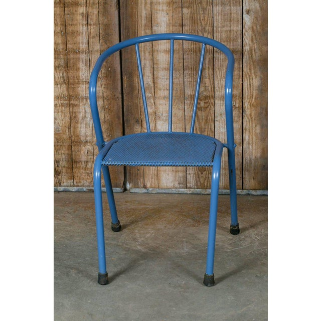 French Blue Metal Side Chairs - Set of 6 - Image 2 of 6