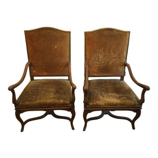 Louis XIV Style Walnut Bergeres - a Pair