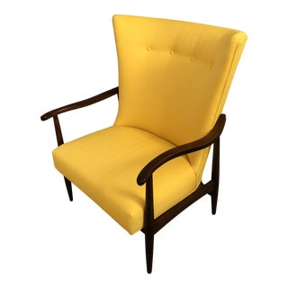 Mid-Century Danish Yellow Wool Lounge Chair