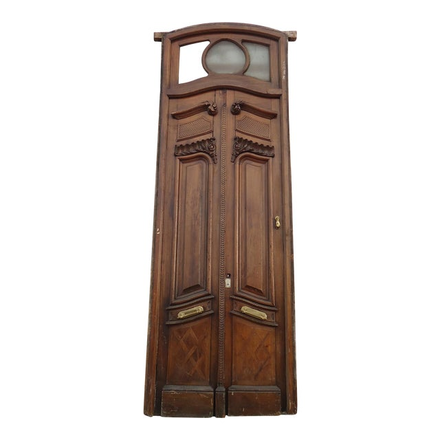 Antique Parquetry Doors with Transom Window For Sale - Image 12 of 12