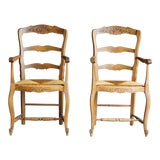 Image of Early 20th Century Antique French Carved Ladder back Rush Seat Dining Chairs - a Pair For Sale