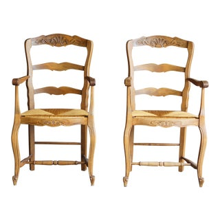 Early 20th Century Antique French Carved Ladder back Rush Seat Dining Chairs- A Pair For Sale